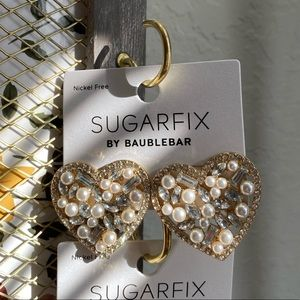 Baublebar sugarfix pearl gem gold heart large stud